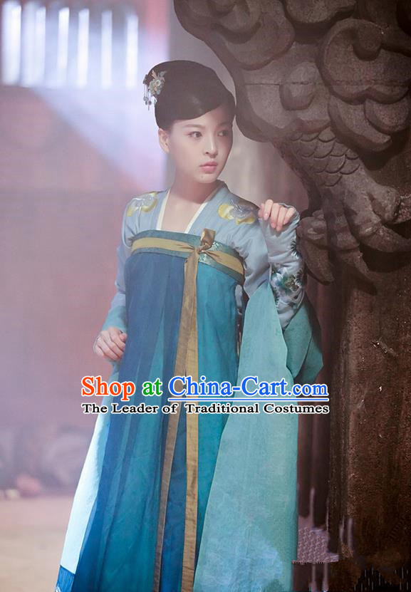 Chinese Ancient Tang Dynasty Imperial Concubine Costume and Headpiece Complete Set, Traditional Chinese Ancient Peri Female Officials Princess Dress for Women