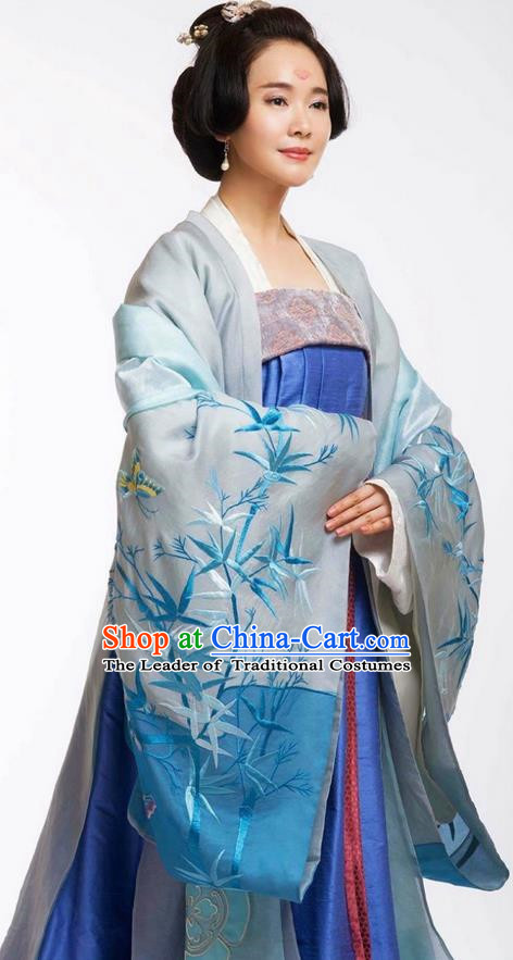 Chinese Ancient Tang Dynasty Noblewoman Costume and Headpiece Complete Set, Traditional Chinese Ancient Imperial Concubine Trailing Dress for Women