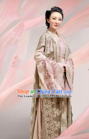 Chinese Ancient Tang Dynasty Lady Boutique Costume and Headpiece Complete Set, Traditional Chinese Ancient Nobility Empress Dress for Women