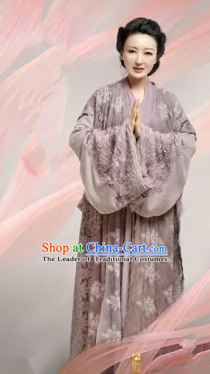 Chinese Ancient Tang Dynasty Lady Boutique Costume and Headpiece Complete Set, Traditional Chinese Ancient Lay Buddhist Dress for Women
