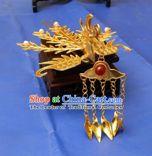 Traditional Handmade Chinese Ancient Classical Hair Accessories Barrettes Phoenix Hairpins, Palace Princess Tassel Golden Step Shake Hair Claws for Women