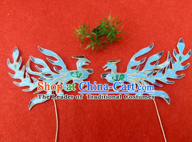 Traditional Handmade Chinese Ancient Classical Hair Accessories Barrettes Phoenix Step Shake Hair Sticks for Women