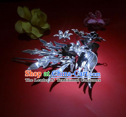 Traditional Handmade Chinese Ancient Classical Hair Accessories Barrettes Phoenix Hairpin, Qing Dynasty Queen Sliver Step Shake Hair Fascinators Hairpins for Women