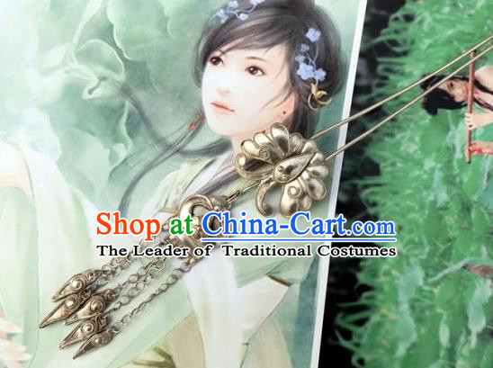 Traditional Handmade Chinese Ancient Classical Hair Accessories Barrettes Tassel Hairpin, Qing Dynasty Butterfly Lanterns Sliver Step Shake Hair Fascinators Hairpins for Women