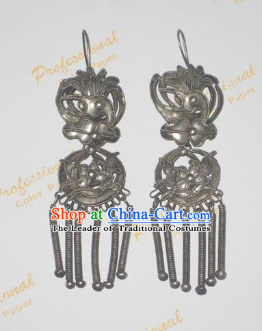 Traditional Handmade Chinese Ancient Classical Earrings Accessories Peony Flower Tassel Eardrop for Women
