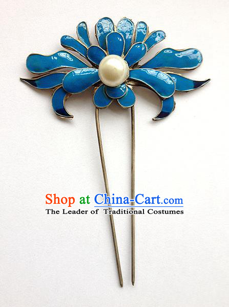 Traditional Handmade Chinese Ancient Classical Hair Accessories Barrettes Blueing Hairpin, Step Shake Hair Sticks Hair Jewellery for Women