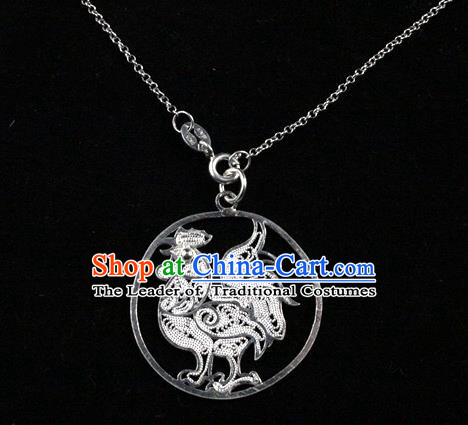Traditional Handmade Chinese Ancient Classical Accessories Pure Sliver Chinese Zodiac Pendant Chicken Lacing Pendent for Women