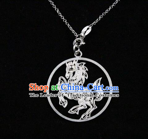 Traditional Handmade Chinese Ancient Classical Accessories Pure Sliver Chinese Zodiac Pendant Horse Lacing Pendent for Women