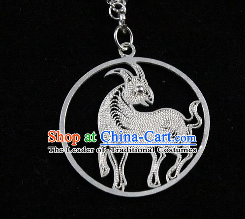 Traditional Handmade Chinese Ancient Classical Accessories Pure Sliver Chinese Zodiac Pendant Sheep Lacing Pendent for Women