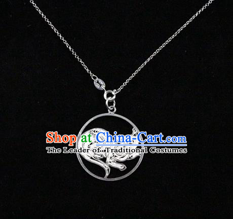 Traditional Handmade Chinese Ancient Classical Accessories Pure Sliver Chinese Zodiac Pendant Rat Lacing Pendent for Women
