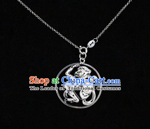 Traditional Handmade Chinese Ancient Classical Accessories Pure Sliver Chinese Zodiac Pendant Monkey Lacing Pendent for Women