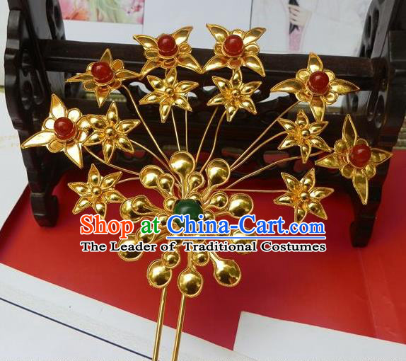 Traditional Handmade Chinese Ancient Classical Hair Accessories Barrettes Mandarin Imperial Empress Hairpins Step Shake Hair Ornament for Women
