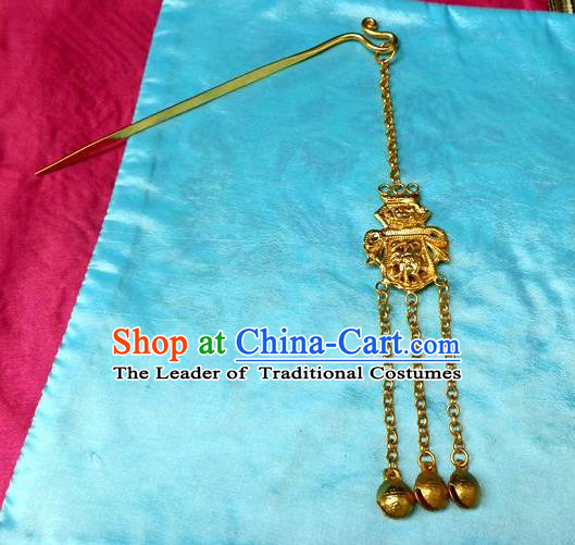 Traditional Handmade Chinese Ancient Classical Hair Accessories Barrettes Manchu Imperial Princess Golden Tassel Hairpins Step Shake Hair Ornament for Women