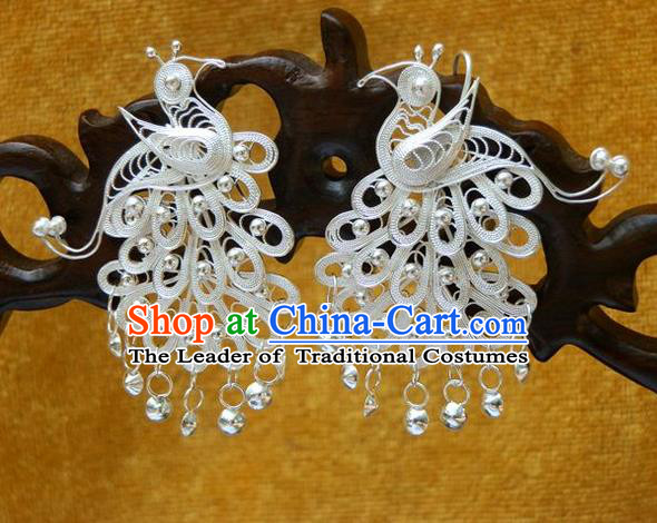 Traditional Handmade Chinese Ancient Classical Earrings Accessories Pure Sliver Tassel Peacock Eardrop for Women