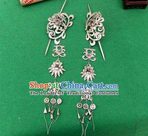 Traditional Handmade Chinese Miao Nationality Ancient Classical Dragon Head Earrings Accessories Eardrop for Women