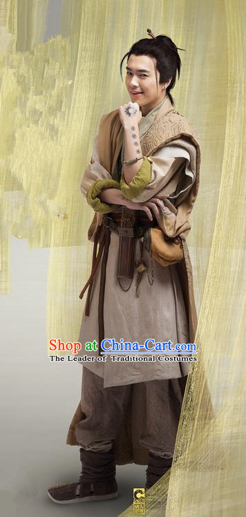 Chinese Ancient Tang Dynasty Swordsman Costume and Headpiece Complete Set, Traditional Chinese Ancient Chivalrous Expert Clothing for Men