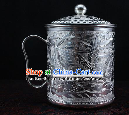 Traditional Chinese Miao Nationality Accessories Teacup, Hmong Ethnic Pure Sliver Cup