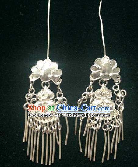 Traditional Handmade Chinese Ancient Classical Jewellery Accessories Earrings, Ming Dynasty Wedding Pure Sliver Eardrop for Women