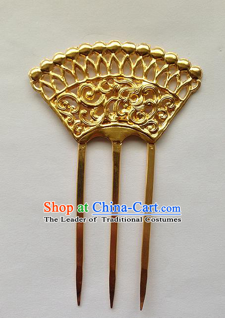 Traditional Handmade Chinese Ancient Classical Hair Accessories Barrettes Golden Hairpins, Pure Sliver Step Shake Sector Hair Combs for Women