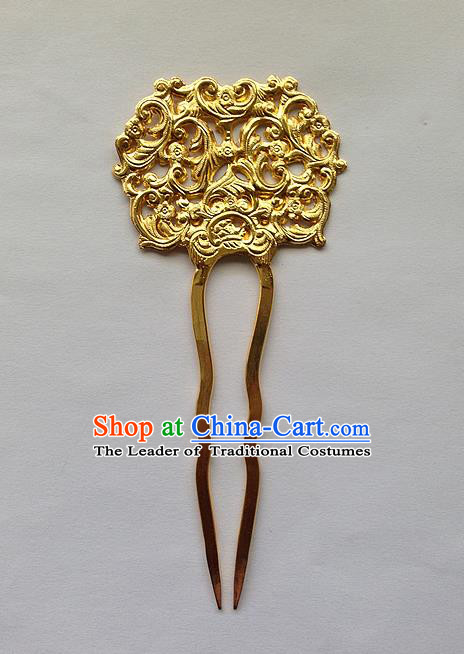 Traditional Handmade Chinese Ancient Classical Hair Accessories Barrettes Golden Hairpins, Pure Sliver Step Shake Hair Combs for Women