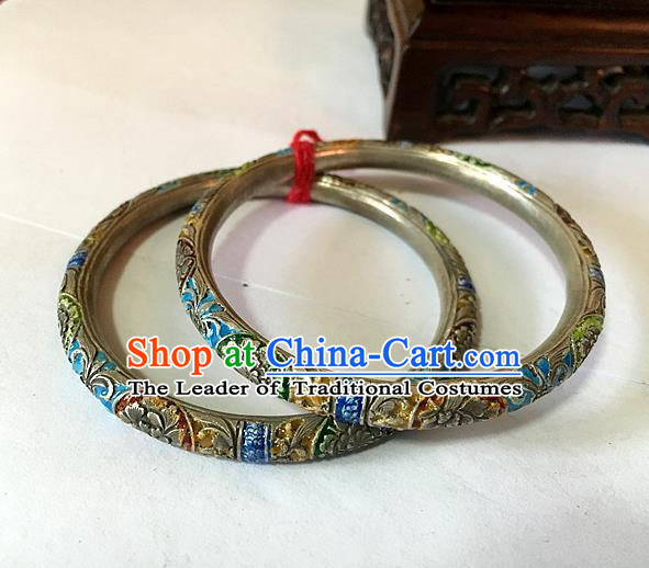 Traditional Chinese Miao Nationality Accessories Hollow Bracelet, Hmong Female Ethnic Pure Sliver Blueing Bangle for Women