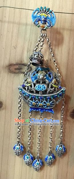 Traditional Handmade Chinese Ancient Classical Accessories Pure Sliver Blueing Pendant Hollow Sachet Pendent for Women