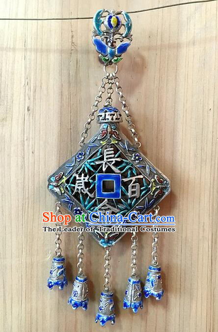 Traditional Handmade Chinese Ancient Classical Accessories Pure Sliver Blueing Pendant Tassel Waist Pendent for Women
