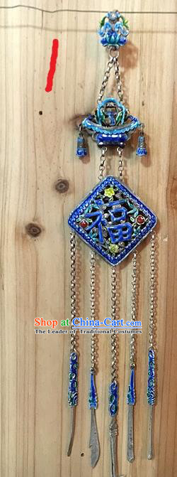 Traditional Handmade Chinese Ancient Classical Accessories Pure Sliver Blueing Pendant Tassel Waist Pendent Fu Character Sweater Chain for Women