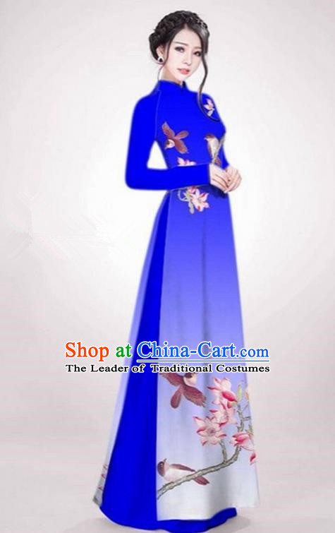 Top Grade Asian Vietnamese Traditional Dress, Vietnam Ao Dai Dress Royalblue Cheongsam Clothing for Women