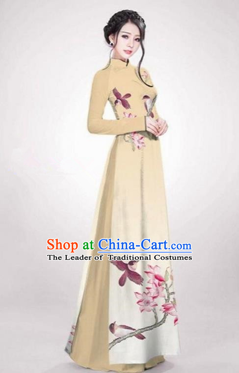 Top Grade Asian Vietnamese Traditional Dress, Vietnam Ao Dai Dress Khaki Cheongsam Clothing for Women