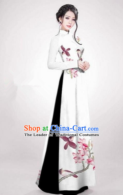 Top Grade Asian Vietnamese Traditional Dress, Vietnam Ao Dai Dress White Cheongsam Clothing for Women