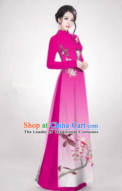 Top Grade Asian Vietnamese Traditional Dress, Vietnam Ao Dai Dress Rose Cheongsam Clothing for Women