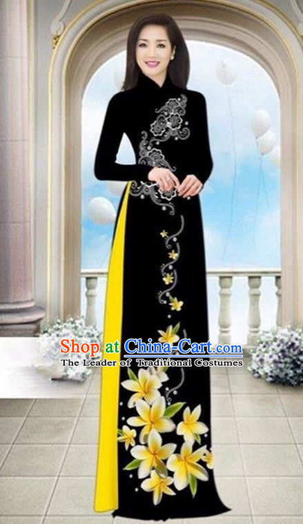 Top Grade Asian Vietnamese Traditional Dress, Vietnam Bride Ao Dai Dress Wedding Black Printing Cheongsam Clothing for Women