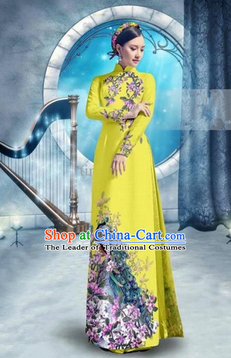 Top Grade Asian Vietnamese Traditional Dress, Vietnam Bride Ao Dai Dress, Princess Wedding Printing Peacock Lemon Yellow Cheongsam Clothing for Women
