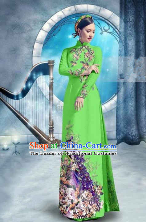 Top Grade Asian Vietnamese Traditional Dress, Vietnam Bride Ao Dai Dress, Princess Wedding Printing Peacock Fluorescent Green Cheongsam Clothing for Women