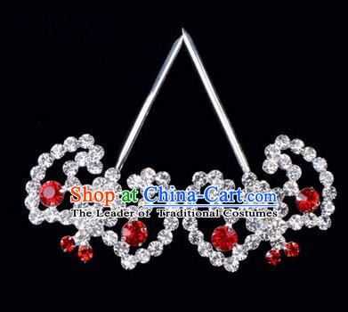 Chinese Ancient Peking Opera Hair Accessories Young Lady Bat Headwear, Traditional Chinese Beijing Opera Head Ornaments Hua Tan Red Crystal Hairpins