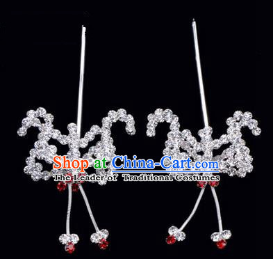 Chinese Ancient Peking Opera Hair Accessories Young Lady Headwear, Traditional Chinese Beijing Opera Head Ornaments Hua Tan Red Crystal Bat Hairpins