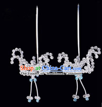 Chinese Ancient Peking Opera Hair Accessories Young Lady Headwear, Traditional Chinese Beijing Opera Head Ornaments Hua Tan Blue Crystal Bat Hairpins