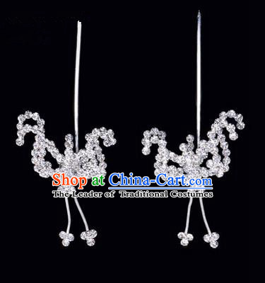Chinese Ancient Peking Opera Hair Accessories Young Lady Headwear, Traditional Chinese Beijing Opera Head Ornaments Hua Tan White Crystal Bat Hairpins