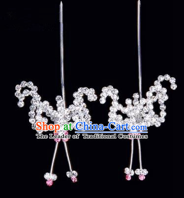 Chinese Ancient Peking Opera Hair Accessories Young Lady Headwear, Traditional Chinese Beijing Opera Head Ornaments Hua Tan Pink Crystal Bat Hairpins