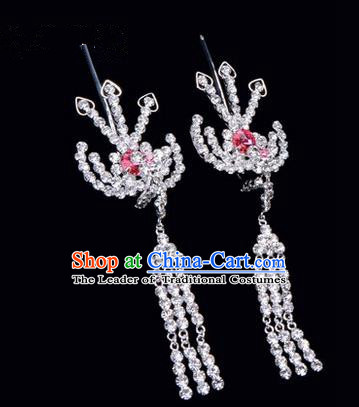 Chinese Ancient Peking Opera Hair Accessories Young Lady Headwear, Traditional Chinese Beijing Opera Head Ornaments Hua Tan Pink Crystal Phoenix Hairpins