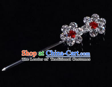 Chinese Ancient Peking Opera Hair Accessories Young Lady Headwear, Traditional Chinese Beijing Opera Head Ornaments Hua Tan Crystal Wintersweet Hairpins