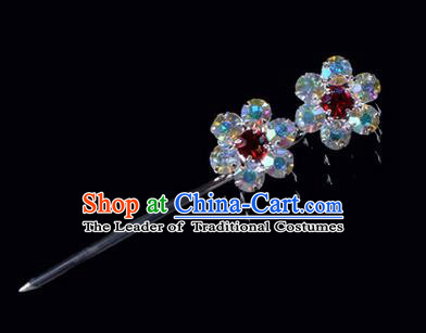 Chinese Ancient Peking Opera Hair Accessories Young Lady Headwear, Traditional Chinese Beijing Opera Head Ornaments Hua Tan Coloured Crystal Wintersweet Hairpins