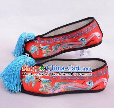 Chinese Ancient Peking Opera Young Lady Embroidered Phoenix Shoes, Traditional China Beijing Opera Female Red Embroidered Shoes