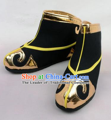Chinese Ancient Peking Opera Martial Role Boots, Traditional China Beijing Opera Male Black Embroidered Shoes