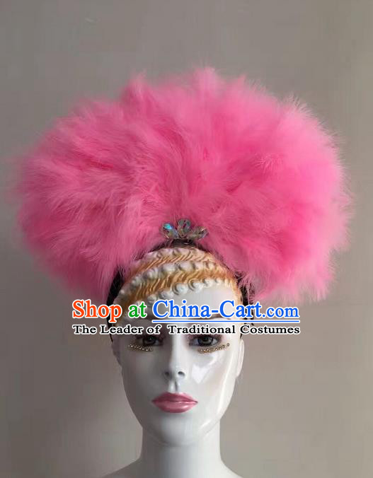 Top Grade Professional Stage Show Halloween Headpiece Hat, Brazilian Rio Carnival Samba Opening Dance Pink Feather Headwear for Women