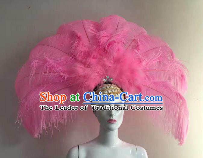 Top Grade Professional Stage Show Halloween Long Feather Headpiece Hat, Brazilian Rio Carnival Samba Opening Dance Pink Feather Headwear for Women