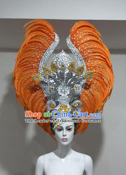 Top Grade Professional Stage Show Halloween Crystal Feather Headpiece Hat, Brazilian Rio Carnival Samba Opening Dance Orange Feather Headwear for Women