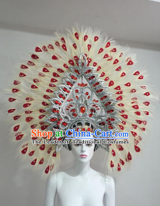 Top Grade Professional Stage Show Halloween Red Crystal Feather Headpiece Hat, Brazilian Rio Carnival Samba Opening Dance Feather Headwear for Women