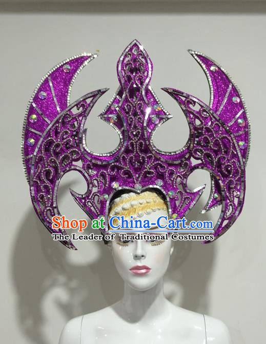 Top Grade Professional Stage Show Halloween Headpiece Crystal Exaggerate Hat, Brazilian Rio Carnival Samba Opening Dance Purple Headwear for Women